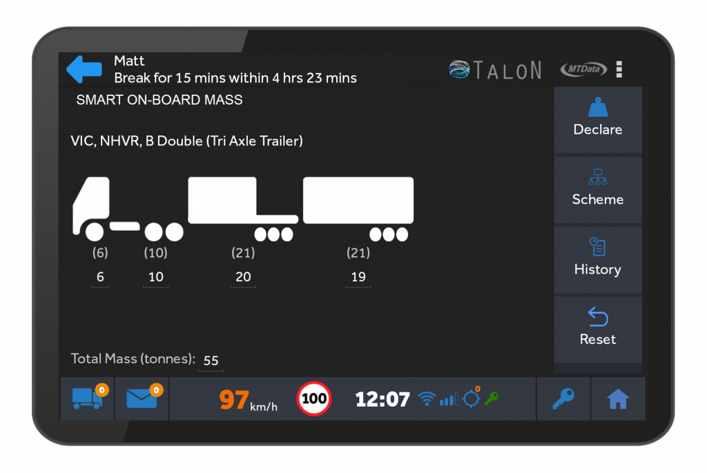 MTData Talon in-vehicle tablet displaying the Smart On-Board Mass Management module. The screen has a graphic of a truck and its weight for each carrier.